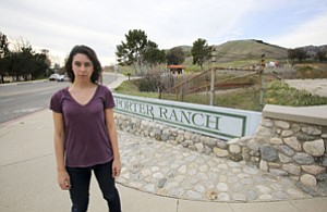 Raising Stink: Activist Alex Nagy outside the entryway to SoCal Gas' Aliso Canyon facility, which has sustained a gas leak.