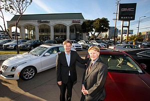 Development Drive: Dan, left, and Dana Martin at their West L.A. car dealership that they plan to convert to a mixed-use center to take advantage of a nearby Expo Line station.