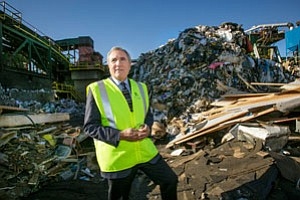 Recology Chief Executive Michael Sangiacomo with rubbish heap in Sun Valley.