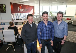 Cutting In: Co-founders Ed Servaites, left, Oren Castro and Ben Delamont at Burnish Creative's office on the Miracle Mile.