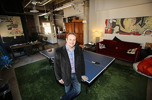 Tech on Table: Thomas Swalla at StudyMode's office in Hollywood's Taft Building.