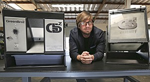 GreenBroz CEO Cullen Raichart says it was difficult at first to get investors excited about backing the tools used by dispensaries to process marijuana. The manufacturer's trimmer, left, cuts leaves off buds. Those leaves are then put in a tumbler, right, to extract a potent substance used in edibles.