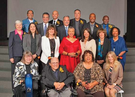 Back row, left, honorees Stan Rodriguez, Azim Khamisa, Daniel Hoang, KPBS General Manager Tom Karlo; honorees Enrique Morones, Andre Jones, Aaron Wooten; middle row: honorees Christine Kehoe, Karemi Alvarez, Robin Rady, Starla Lewis, Union Bank Managing Director and Regional President Robbin Narike Preciado, honorees Virginia Gordon, Dr. Gail R. Knight; front row seated honorees Cynthia Jones, William Stothers, Vickie Gambala, and Shara Fisler. Photo courtesy of Union Bank