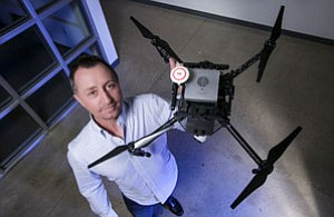 Edan Cain of Cheetah Software Systems with company drone.