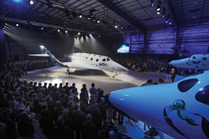 Virgin Galactic's six-passenger vehicle in Antelope Valley hangar.