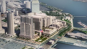 Construction on the Manchester Pacific Gateway project could begin as soon as June and is expected to take about three years to complete. Rendering courtesy of Manchester Financial Group