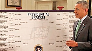 Each year, even President Obama takes time out to fill out his bracket. Last year, he picked Kentucky to win. He lost. Photo courtesy of insidesocal.com