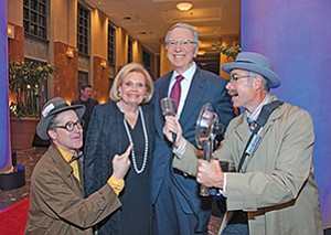 "Joan and Irwin Jacobs with ""Hollywood Paparazzi"" at the 38th Annual Gala at Seacrest Village Retirement Community. Photo courtesy of Bob Ross Photography"