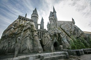 Hogwarts Castle looms over the Wizarding World of Harry Potter at Universal Studios Hollywood.