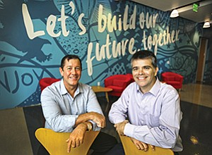 Renovate America's chief operating officer, Nick Fergis, left, and its chief executive officer, J.P. McNeill, are looking to take advantage of a growing awareness nationwide of the company's clean energy financing.