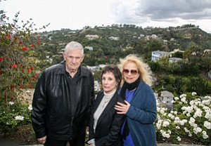 Neighborhood Watched: Benedict Canyon residents Bob Schlesinger, left, Judy Winick and Nickie Miner. Development site is at center rear.
