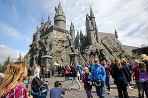 Booking Tourists: Magic school Hogwarts at Universal Studios Hollywood, part of the Wizarding World of Harry Potter.