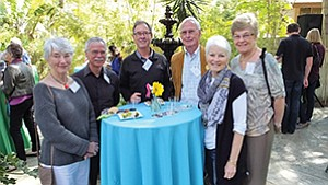 Diana Scheffler left; board members Chris Khoury, Brad Bartlett, and Immo Scheffler; Jane Meyers and board member Bonnie Hepburn at the San Dieguito River Valley Conservancy 30th Anniversary Wax & Wine event. Photo courtesy of the San Dieguito River Valley Conservancy