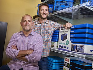 CEO Tom Quinn, left, and President Mike Carlson founded CleverMade to bring easy-to-use and mobile storage bins to big-box retailers.