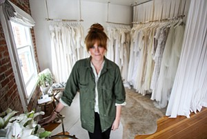 High on Space: Orla Stiles in the second-story space of her Solstice Bride shop.