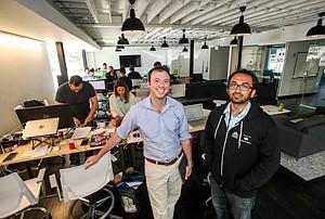 Medical Advice: Matt Kozlov, left, and Omkar Kulkarni at accelerator's L.A. office.