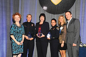 San Diego Police Foundation CEO Sara Napoli (left), Detective Tammy Clendenen, Senior Property Evidence Supervisor Beverly Harris, Officer Suzy de la Peña, ESET VP Celeste Blodgett and ESET CEO Andrew Lee at the 6th annual San Diego Police Foundation's Women in Blue Luncheon. Photo courtesy of the San Diego Police Foundation
