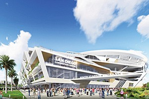The Chargers' concept for a downtown hybrid stadium and convention facility in East Village includes a seating area with a retractable roof and a public park.Photo courtesy of MEPS Real-Time Inc. Rendering courtesy of San Diego Chargers
