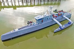 Sea Hunter is an unmanned ship that the U.S. Navy and DARPA plan to test in San Diego over the next two years. DARPA is the Defense Advanced Research Projects Agency. Photo courtesy of DARPA