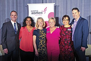"""Miguel Perez (left), Dr. Sheila Patel, Catherine Blair, Laura Farmer Sherman, Dr. Susan Love, Dr. Steven Eisenberg at the Susan G. Komen San Diego's """"Screens, Genes & The Choices We Make: A Conversation on Research, Treatment and Lifestyle'' annual dinner symposium. Photo courtesy of Susan G. Komen San Diego"""