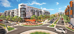 Developers of North City plan to move forward later this year on Block C, a new multifamily complex with retail elements. Rendering courtesy of Safdie Rabines Architects