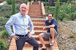 Damien McDevitt (left), GSK vice president and head of the company's research and development satellite in San Diego, and Jay Lichter, managing director of Avalon Ventures, work together to mitigate risk while fueling early-stage science. Photo courtesy of Avalon Ventures