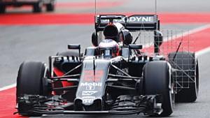 Grand Prix car on the track in Barcelona.