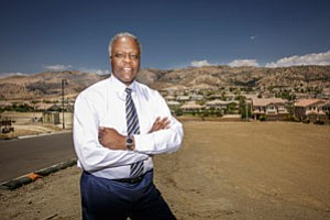 Mel Wilson, former pro football player and owner of real estate brokerage Mel Wilson & Associates-Realtors, at a housing development in Porter Ranch.
