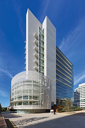With efficiency now a priority for many entities, the more distinctive design projects in the market do stand out. Among them are the U.S. District Court for the Southern District of California (above), Pacific Gate (below left, under construction) and the Qualcomm AY Building. Photo courtesy of GSA