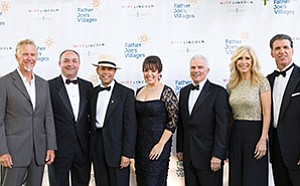 Neil Shigley (left) Joe Ergastolo, Deacon Jim Vargas, Jackie Vargas, Ed Witt, Kimberly Hunt and Billy Ray Smith at Father Joe's Villages' 2016 Children's Charity Gala. Photo courtesy of Father Joe's Villages