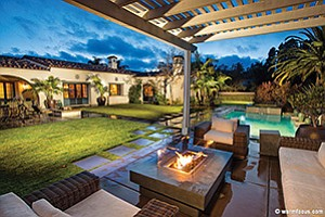The back view of 1176 Via Zamia, a 4,380-square-foot home in the Sidonia development of Encinitas Ranch. Photo courtesy of Warm Focus Photography
