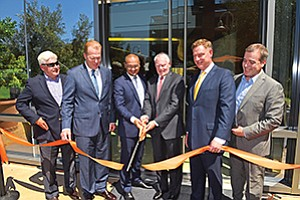 Participating in the dedication ceremony on June 20 were Joe Panetta (BIOCOM), Mayor Kevin Faulconer, Francis deSouza (Illumina president), Jay Flatley (Illumina executive chairman and CEO), U.S. Rep. Scott Peters, and Mark Cafferty (San Diego EDC) Photo courtesy of Greg Schenewerk, Illumina Inc.
