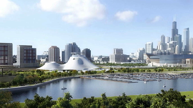 A rendering of the possible Lucas Museum.