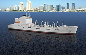 A photo illustration depicts the USNS John Lewis, the U.S. Navy's next-generation oiler, against the San Diego skyline. NASSCO received a $3 billion order for six ships. The order may grow to 17 ships. Rendering courtesy of General Dynamics NASSCO