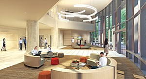 A photo rendering depicts the lobby at The Plaza in University Towne Centre, which is undergoing renovation. Rendering courtesy of the Irvine Co.