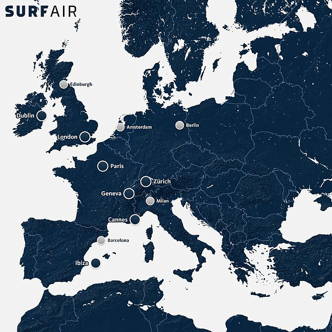 All-you-can-fly subscription airline Surf Air will start flying several routes in Europe starting this October.