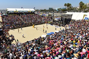Scoring Points: Packed stands at last year's Asics World Series of Beach Volleyball in Long Beach.