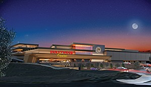 Artist's rendering shows the $400 million Hollywood Casino south of Jamul in operation. Patrons would get to the East County casino on state Route 94. Casino officials expect to open its doors this summer. Photo courtesy of Jamul Indian Village