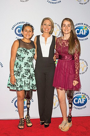 Alex Henry, left, Dylan Dreyer — an NBC 'Today Show' host — and Breezy Bochenek at the 10th anniversary of a Challenged Athletes Foundation event in New York.   Photo courtesy of Challenged Athletes Foundation