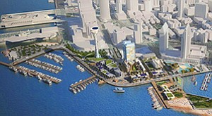 Potential components proposed by Protea Waterfront Development for the 70-acre waterfront site could eventually include hotels, a retail marketplace, promenades, an aquarium, an observation tower and an interactive, high-tech cultural attraction from Smithsonian Media. Renderings courtesy of Protea Waterfront Development