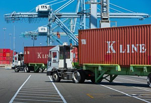 Shut Out: Trucks at the Port of Long Beach, which had applied for federal grants.