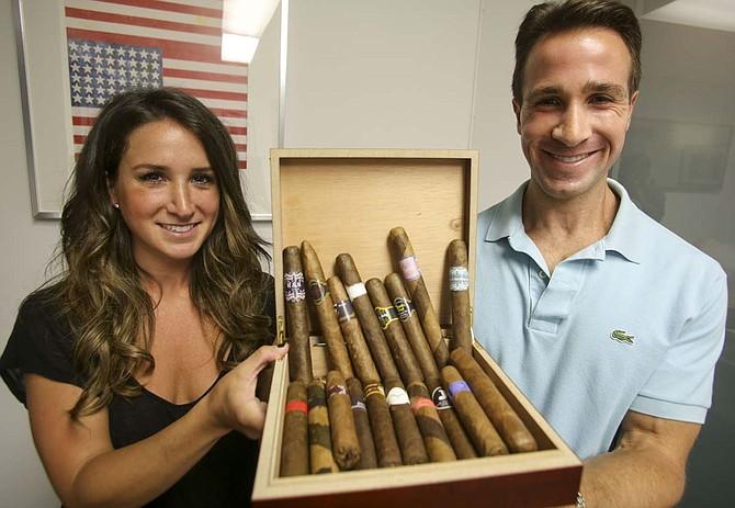 Siblings Rachel and Adam Mendler at Custom Tobacco. Ringo H.W. Chiu/LABJ