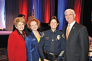 "San Diego District Attorney Bonnie Dumanis (left), Police Foundation President/CEO Sara Napoli, Police Chief Shelley Zimmerman and Sheriff Bill Gore at the San Diego Police Foundation's ""Friends of the Badge"" luncheon. Photo courtesy of the San Diego Police Foundation"