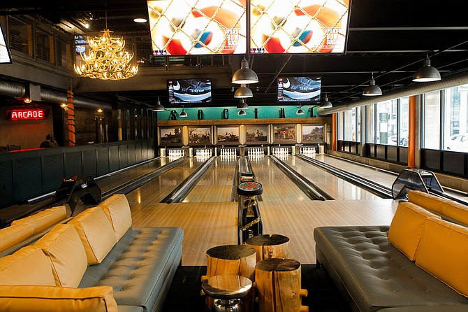 The Punch Bowl Social planned for Makers Quarter will have bowling lanes and other on-site games, along with a restaurant. The company's Detroit location is shown here - Photo courtesy of Punch Bowl Social