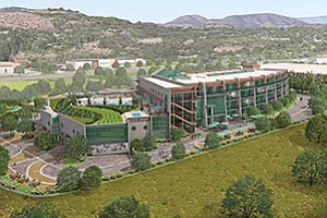 A back view of the hotel planned by Stone Brewing Co. on land adjacent to its Escondido headquarters. Rendering courtesy of Stone Brewing Co., Hamann Cos.