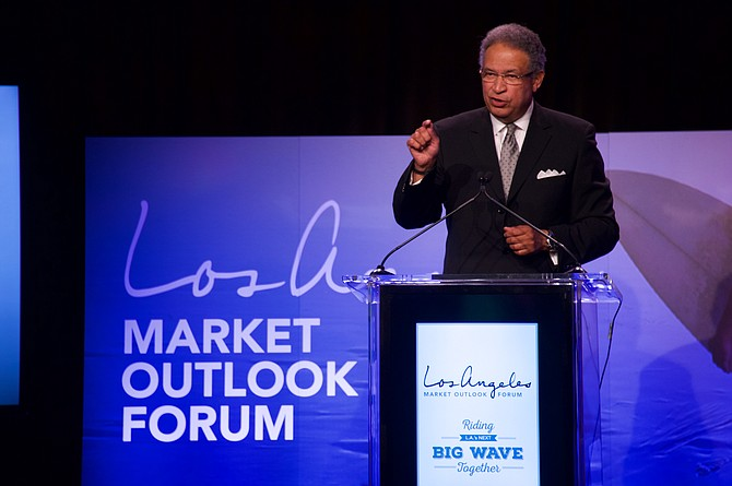 Ernest Wooden Jr. speaks at L.A. Tourism's forum in 2015.
