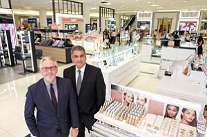 Best Face Forward: Michael Ellmann, left, and Henry Aguirre at the makeup department at the renovated downtown Macy's.
