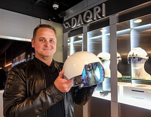 Vision of Future: Brian Mullins with Smart Helmet at Daqri's downtown office.