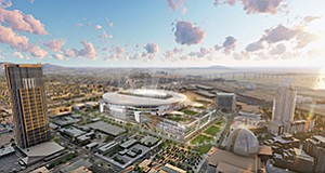 Sides continue to be drawn on the Chargers' Measure C, which would fund a new downtown convadium, as well as another November ballot issue known as Measure D. Rendering courtesy of San Diego Chargers