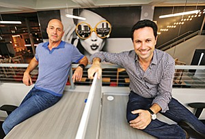Wolf Bielas, left, and Michel Cohen just opened Downtown Works, a $9 million, three-story coworking space in downtown San Diego
